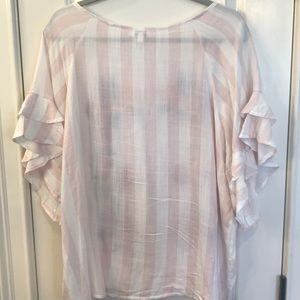 Umgee Tops - Pink and white strip floral top